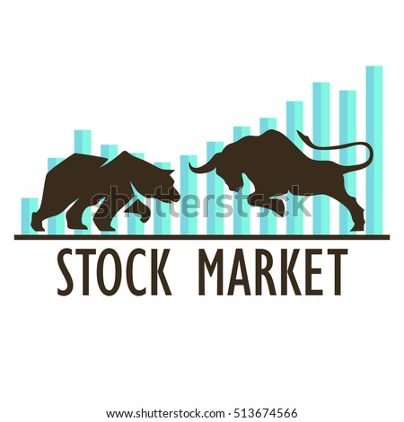 Bullish and Bearish symbols on stock market vector illustration. vector Forex or commodity charts, isolated on abstract background. The symbol of the bear and the bull. The growing and falling market.