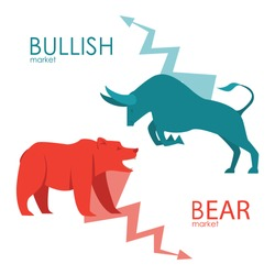 Bullish and bearish symbols. Stock market trends. Players on Exchange. Bulls and bears traders on a stock market. Vector.