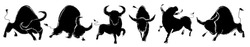 Bulls set. Buffalo silhouettes of standing in different poses. Taurus, Ox horoscope. Vector illustration design, creative ink imitation. Bull logo, sign designs. Isolated on white background.