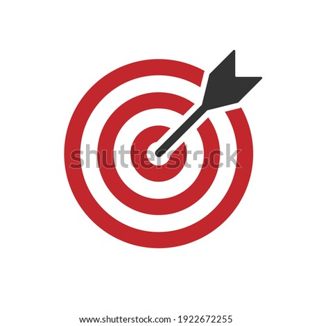 Bullseye target icon symbol. Arrow dart targeting market logo sign. Vector illustration image. Isolated on white background.