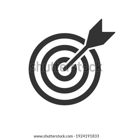 Bullseye target icon symbol. Arrow dart targeting market logo sign. Vector illustration image. Isolated on white background. Stockfoto ©