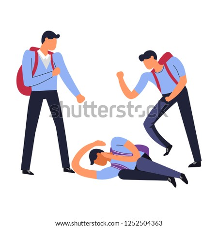 Bully hooligans beating physically weak fellow student lying on ground