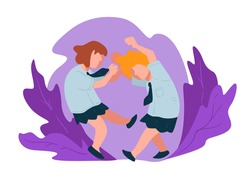 Bully kid at school or home, aggressive behavior of children. Beating fighting children pulling hair and giving punches. Violent teenager hitting victim in face and body, vector in flat style