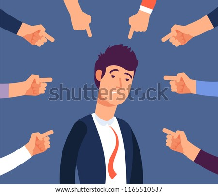 Bullying at work concept. Adult man get harassment by angry coworkers. Accus at office vector illustration. Victim person worker, stress on job, failure and unhappy