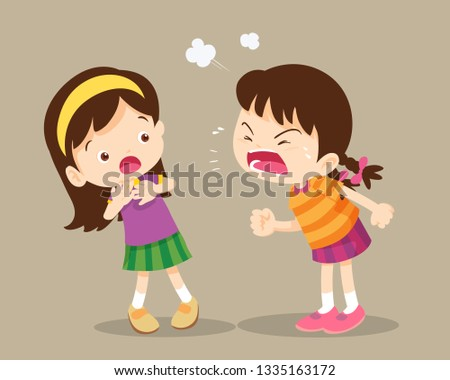bullying children.angry children.Quarreling kids. angry girl shouting at friend.Raging kids.children shouting to each other.