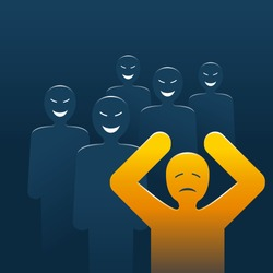 Bullying concept - people laughing and aggressive pursuiting to abuse, aggressively dominate or intimidate the outcast