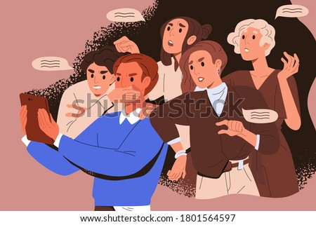 Bullying crowd of people who meddle, disturb and give unasked, unbidden advice. Woman shoves man with tablet. Concept of public meddlesome comment in media networks. Flat vector cartoon illustration Foto stock ©