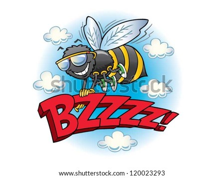 Bumblebee flying with the word buzz