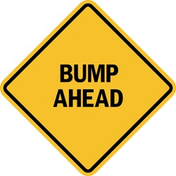 Bump ahead sign. Black on yellow diamond background. Traffic signs and symbols.