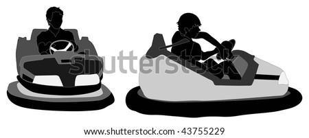 Bumper car silhouettes