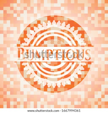Bumptious abstract orange mosaic emblem with background Stock photo ©