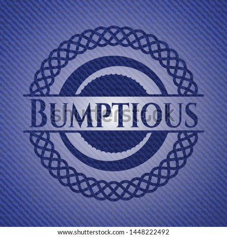 Bumptious emblem with jean high quality background. Vector Illustration. Detailed. Stock photo ©