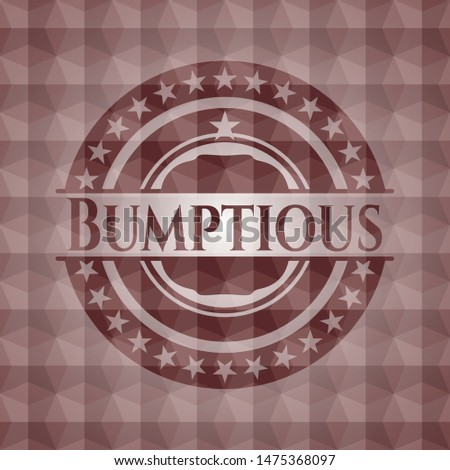 Bumptious red seamless geometric badge. Stock photo ©