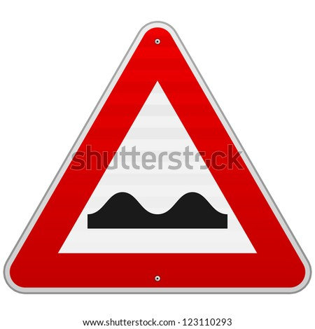 Bumpy Road Sign - European red triangle sign with bumps symbol