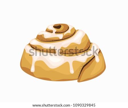 Bun art. Illustration of a bun with cinnamon. Baking isolated. Vector object