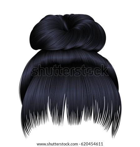 bun  hairs with fringe brunette