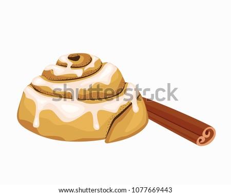 Bun icon. Cinnabon art. Bun with cinnamon, cinnamon stick. Icing. Illustration of sweet baking. Vector object on white background