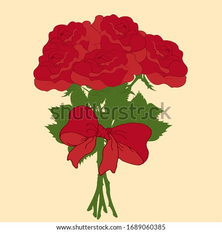 bunch bouquet of red rose