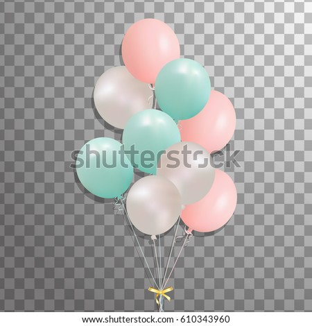 Bunch of balloons isolated. Set of silver, pink, green balloon. Frosted party Festive  balloons for event design, birthday, anniversary, celebration. Vector