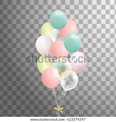 Bunch of balloons isolated.  Set of yellow, pink, green balloon.  Party decorations for birthday, anniversary, celebration.  vector.