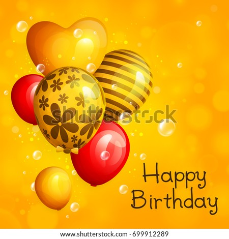 Bunch of birthday yellow and red balloons with pattern. Flying soap bubbles on bokeh background. Vector illustration.