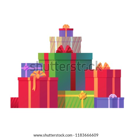 Bunch of Christmas gift boxes vector illustration. Holiday presents isolated on white background. Festive element for your design. Eps 10.
