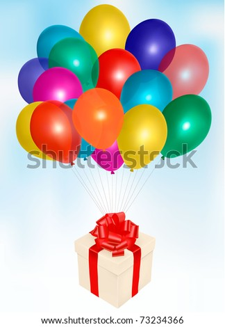 Bunch of colorful balloons on the clouds sky background and a gift box. Vector illustration