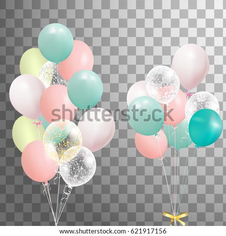 Bunch of colorful realistic helium balloons isolated. Party decorations for birthday, anniversary, celebration, event design. Vector.