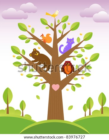 Bunch of cute little creatures gathered on the branches of tree