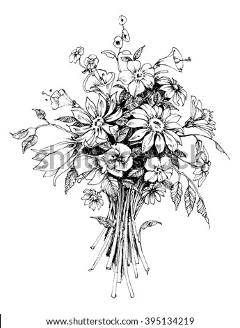 Bunch Of Flowers Bridal Bouquet Sketch