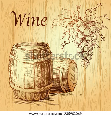 Bunch of grapes on wood background. wooden barrel.  Wine lable