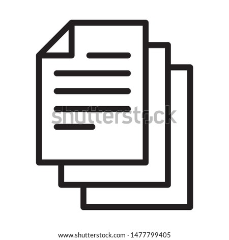 Bunch of notes or stack of documents line art vector icon for apps and websites