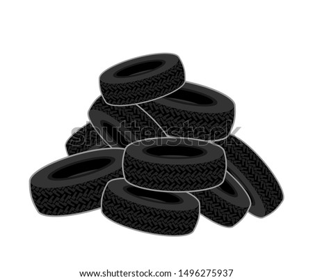 bunch of tires isolated heap
