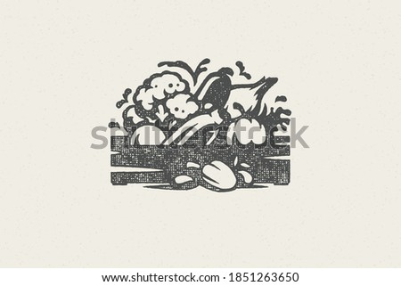 Bunch of various natural fresh vegetables silhouettes for grocery and food farmers market hand drawn stamp effect vector illustration. Grunge texture emblem for farm package design or label decoration