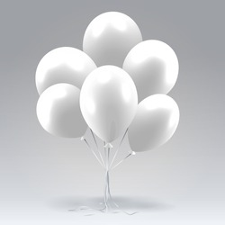 Bunch of white glossy inflatable balloons over light background