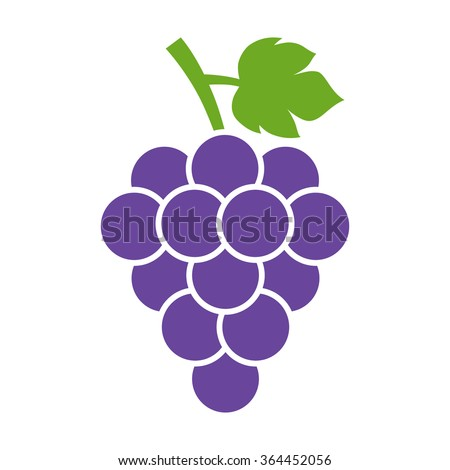 Bunch of wine grapes with leaf flat purple vector icon for food apps and websites