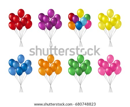 bunches of colorful helium