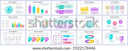 Bundle business and finance infographics presentation slides template. Different charts, diagrams, workflow, flowchart, timeline, schemes design template. Vector info graphic and infographics set. Сток-фото ©