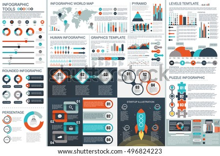 Bundle Infographic teamwork elements vector design template. Can be used for workflow, infographic banners, business startup, set information infographics, diagram, chart. Vector infographic elements.