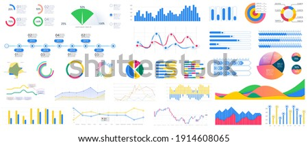Bundle infographic UI, UX, KIT elements. Different charts, diagrams, workflow, flowchart, timeline, schemes. Data visualization kit with buttons, schematic mockups for business report presentation. Stock photo ©