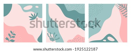 Bundle of abstract nature backgrounds on pastel color suitable for banner, poster, flyer, social media post or stories, template, cover, etc. Modern organic shapes with copy space text.