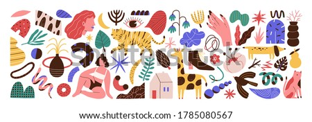 Bundle of abstract trendy doodle art. Set of hand drawn cat, dog, eye, woman, plant, curve, shape, object, blob. Design element. Flat vector cartoon illustration isolated on white background stock photo