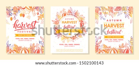 Bundle of autumn harvest festival banners with harvest symbols, leaves and floral element.Harvest fest design perfect for prints,flyers,banners,invitations and more.Vector autumn illustration.