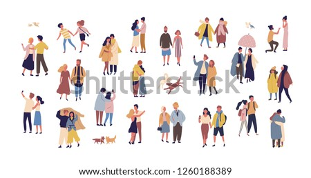 Bundle of couples dressed in seasonal clothes walking on street. Collection of men and women in love during romantic date isolated on white background. Flat cartoon colorful vector illustration.