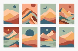 Bundle of creative abstract mountain landscapes,mountain range,desert dunes backgrounds.Mid century modern vector illustrations with hand drawn mountains,sea or lake,sky,sun and moon.Trendy design.