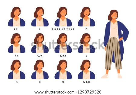Bundle of cute female character s lips or mouth positions for different sounds. Animation set of young woman or girl speaking or pronouncing English letters. Vector illustration in flat cartoon style.