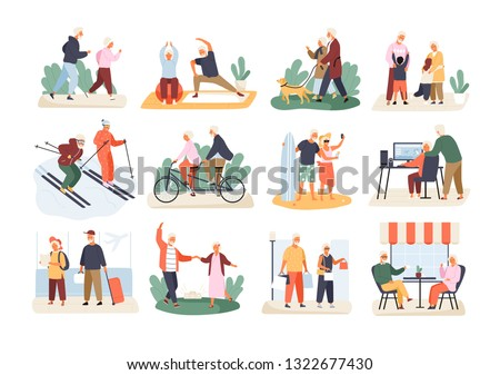 Bundle of cute funny active elderly couples isolated on white background. Collection of recreational and healthy sports activities for grandmother and grandfather. Flat cartoon vector illustration.