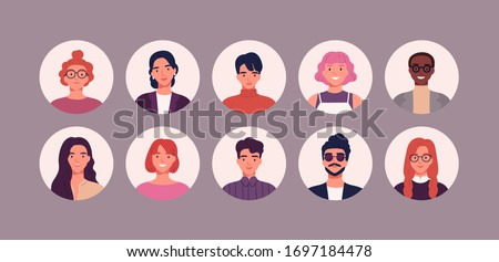 Bundle of different people avatars. Set of colorful user portraits. Male and female characters faces. Smiling young men and women avatar colletion. Vector illustration in flat cartoon style