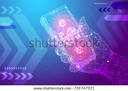 Bundle of Dollars in hand from low poly wireframe on purple background. Data cash and finance vector polygonal image. Success concept.