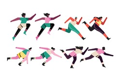 bundle of eight runners characters vector illustration design